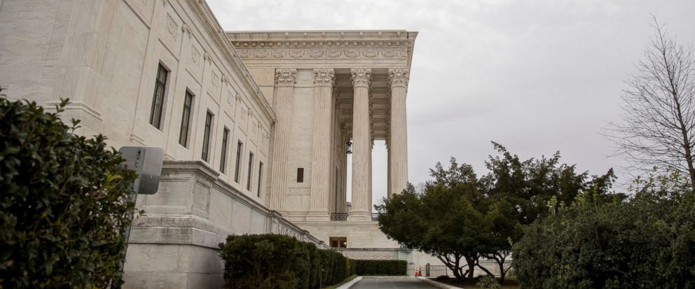 The Supreme Court in Washington, Monday, Jan. 7, 2019, as the court hears arguments in a case against drugmaker Merck over the warning label on its bone strengthening drug Fosamax. (AP Photo/Andrew Harnik)
