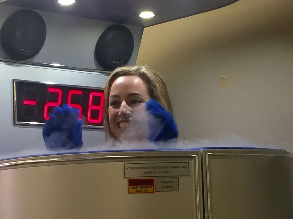 PHOTO: ABC News Reporter Olivia Smith tries a cryotherapy machine.
