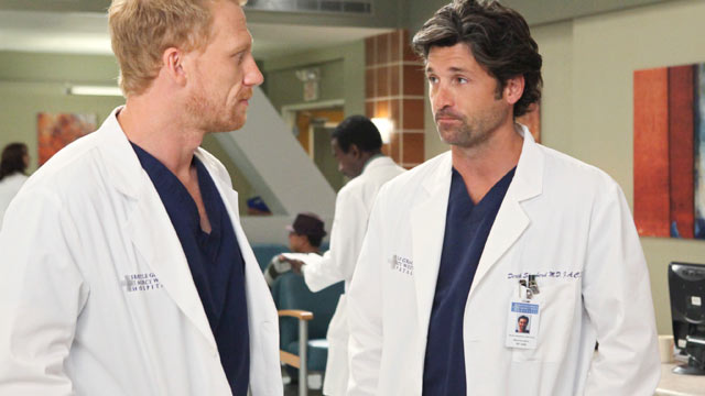PHOTO: The ABC hit show Greys Anatomy stars Kevin McKidd as Dr.Owen Hunt and Patrick Dempsey as Dr. Derek Shepherd.