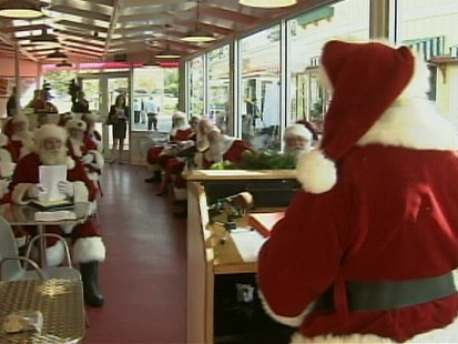 Video: Santas hold meeting to share tips on how to stay flu-free this holiday season.