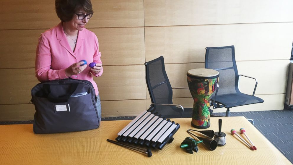 Memorial Sloan Kettering Cancer Center's Lead Music Therapist Karen Popkin lays out some of the instruments she uses with her patients.