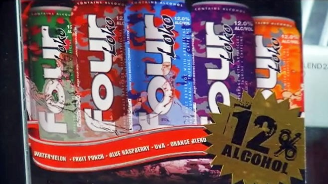 VIDEO: Four Loko, a mixture of alcohol and caffeine, is a hit on college party scene.
