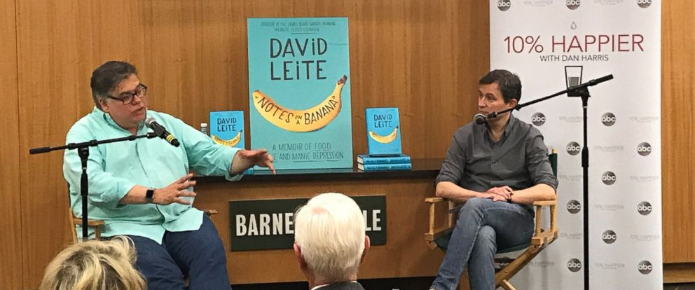 "Author David Leite, left, is seen here with ABC News Dan Harris, right, during a live discussion for the ""10% Happier"" podcast."