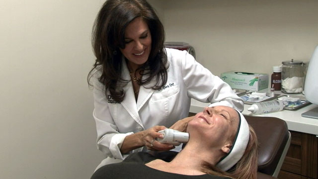 PHOTO: Dr. Doris Day gives Cheri Bollman Ulthera treatments, which use focused ultrasound to achieve results similar to traditional surgical face lifts.