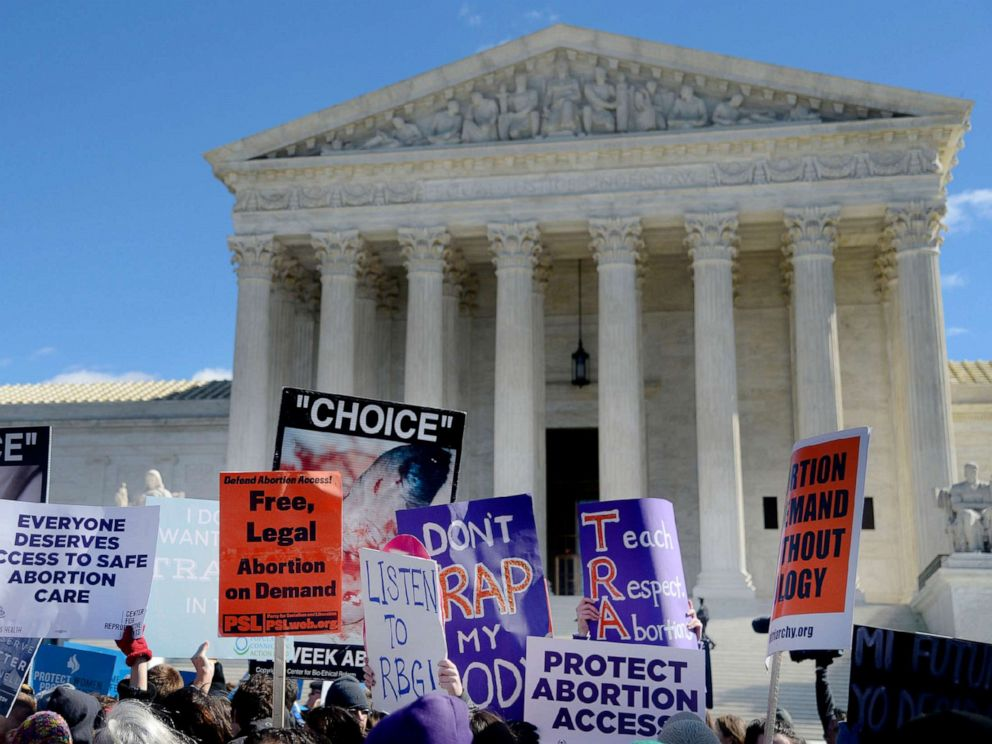PHOTO: Supporters of legal access to abortion, as well as anti-abortion activists, rally outside the Supreme Court in Washington, March 2, 2016, as the Court hears oral arguments in the case of Whole Womans Health v. Hellerstedt.