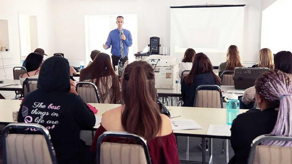 PHOTO: Dr. Steve Lawenda speaks to California college students about diet and acne.