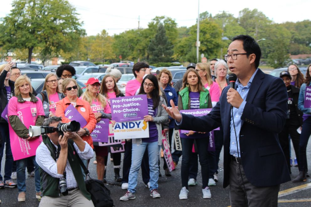 PHOTO: Dozens of supporters, most of them women, gathered in a strip mall parking lot in Willingboro Township, N.J., in October to support Democrat Andy Kim in his bid to unseat Republican congressman Tom MacArthur.