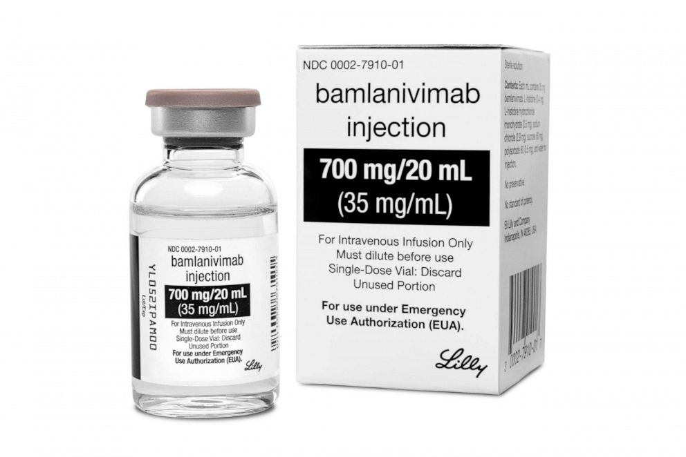 PHOTO: On Tuesday, Jan. 26, 2021, the company said that the two-antibody combo of bamlanivimab and etesevimab reduced the risk of hospitalizations or death by 70% in newly diagnosed, non-hospitalized COVID-19 patients.