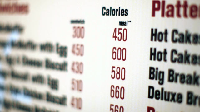 PHOTO: A McDonalds drive-thru menu in New York shows the calorie counts for each food item.