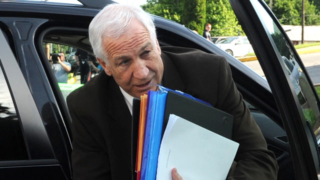 PHOTO: Former Penn State University assistant football coach Jerry Sandusky arrives for the fourth day of his trial at the Centre County Courthouse in Bellefonte, Pa. on June 14, 2012.