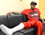 PHOTO: Louisville basketball player Kevin Ware answers questions during an interview, April 3, 2013, at the KFC Yum! Center practice facility in Louisville, Ky.