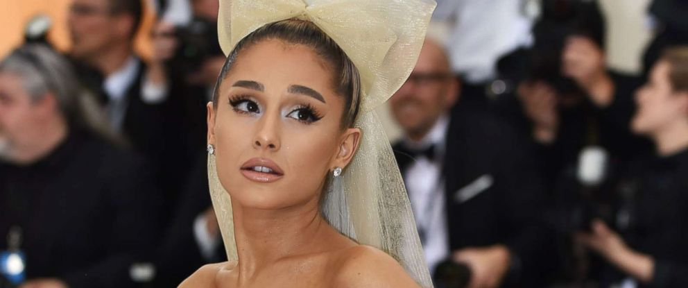 PHOTO: Ariana Grande arrives for the 2018 Met Gala on May 7, 2018, at the Metropolitan Museum of Art in New York.