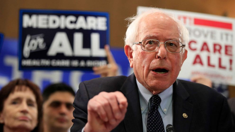 Sen. Bernie Sanders, I-Vt., introduces the Medicare for All Act of 2019, on Capitol Hill, April 10, 2019.