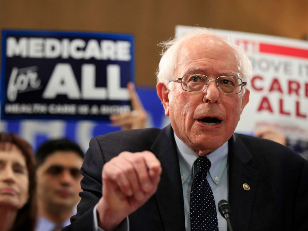PHOTO:Sen. Bernie Sanders, I-Vt., introduces the Medicare for All Act of 2019, on Capitol Hill, April 10, 2019.