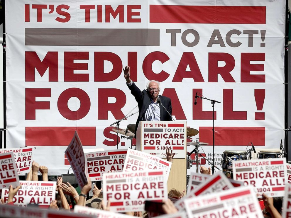 PHOTO: Sen. Bernie Sanders (I-VT) speaks during a health care rally at the 2017 Convention of the California Nurses Association/National Nurses Organizing Committee, Sept. 22, 2017, in San Francisco.