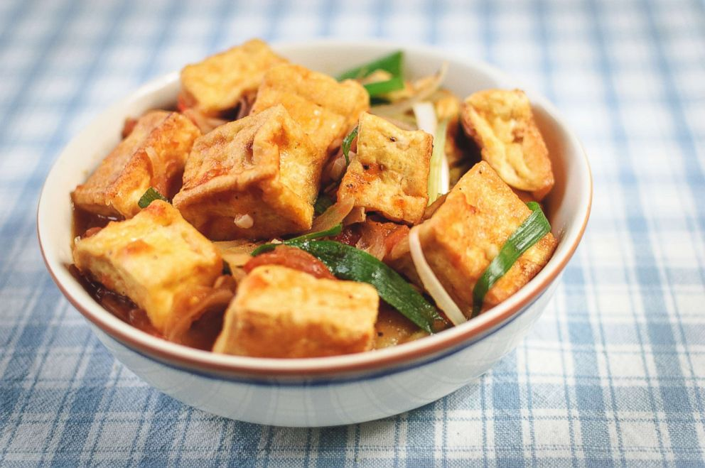 PHOTO: A bowl of tofu is a part of a healthy vegetarian diet.