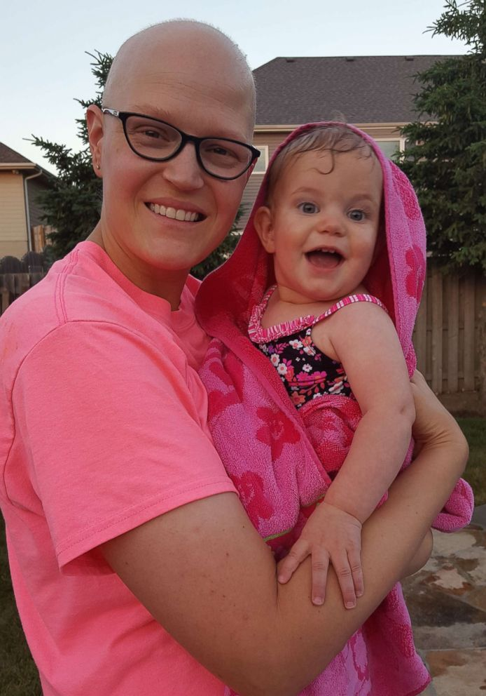 PHOTO: Beth OBrien, 38, of Bennington, Nebraska, was diagnosed with breast cancer in 2017 shortly after finding a lump in her breast while breastfeeding her daughter.