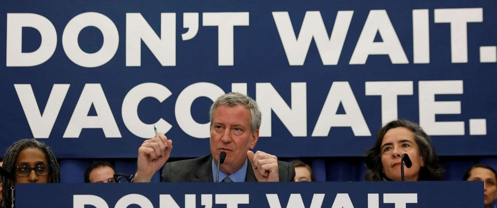 PHOTO: New York City Mayor Bill de Blasio speaks during a news conference, in Brooklyn, N.Y., April 9, 2019.