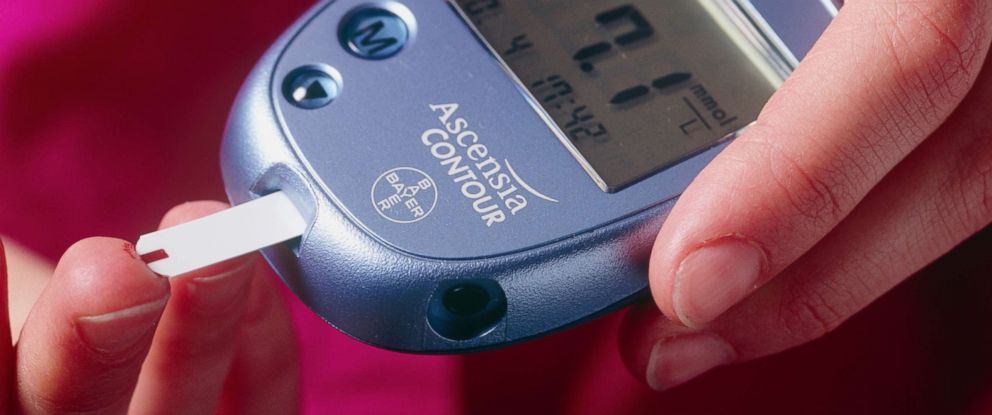 PHOTO: A woman uses a blood glucose measurement to check her blood.