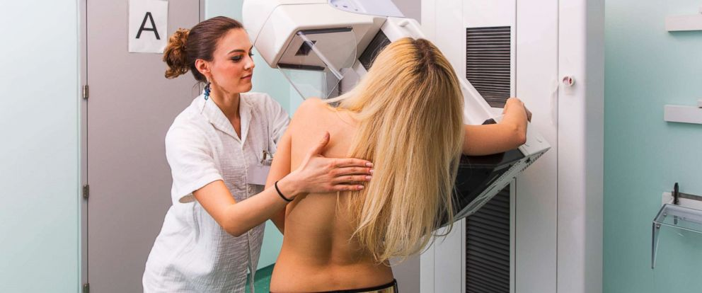 PHOTO: In this undated stock photo, a nurse with a young women having a mammography.