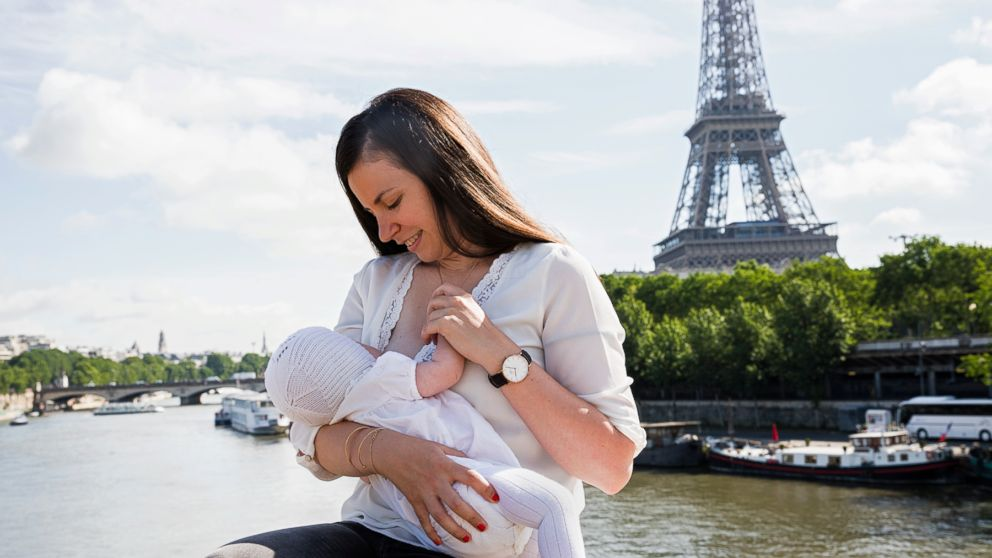 Celine poses while breastfeeding in France.