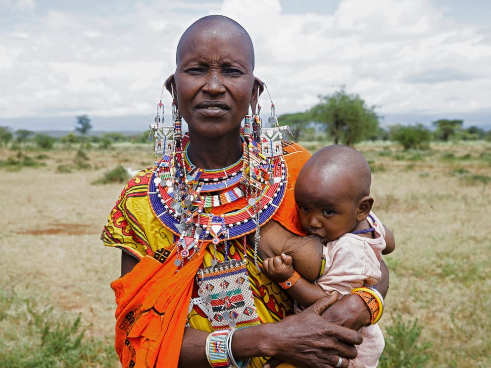 PHOTO: Loolei poses while breastfeeding in Kenya.