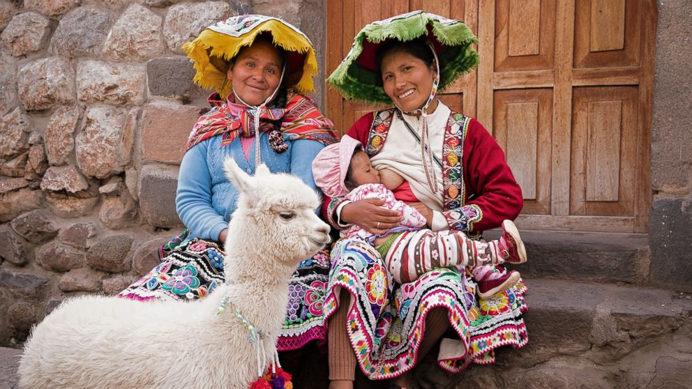 Maryluz poses while breastfeeding in Peru.