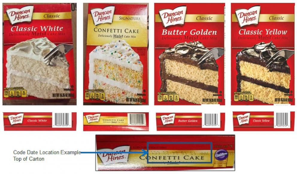 PHOTO: Several Duncan Hines cake mixes have been recalled in connection with a salmonella outbreak that is currently being investigated by CDC and FDA.