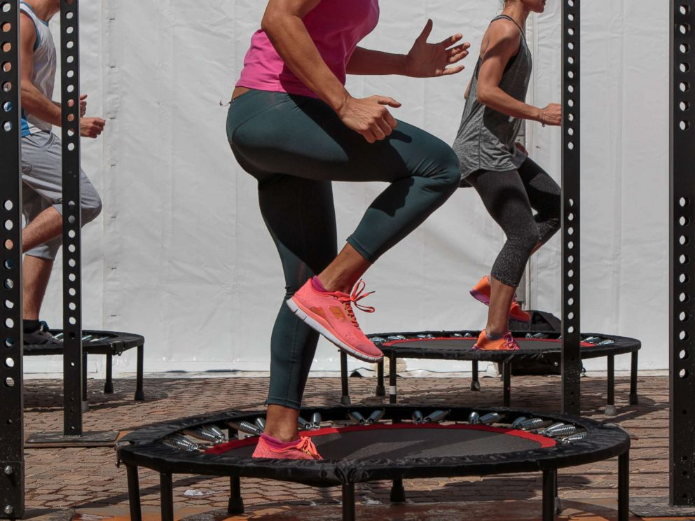 PHOTO: People exercise on mini-trampolines in a stock photo taken in June, 2016.