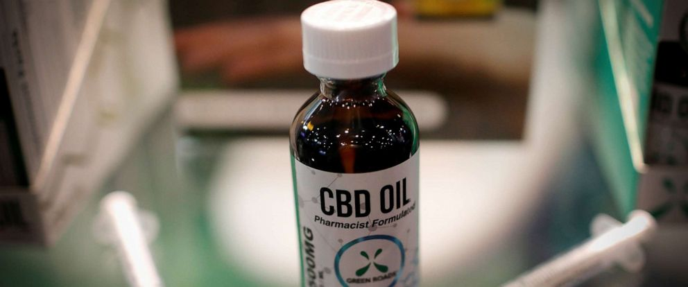 PHOTO: CBD oil is seen displayed at The Cannabis World Congress & Business Exposition trade show in New York, May 30, 2019.