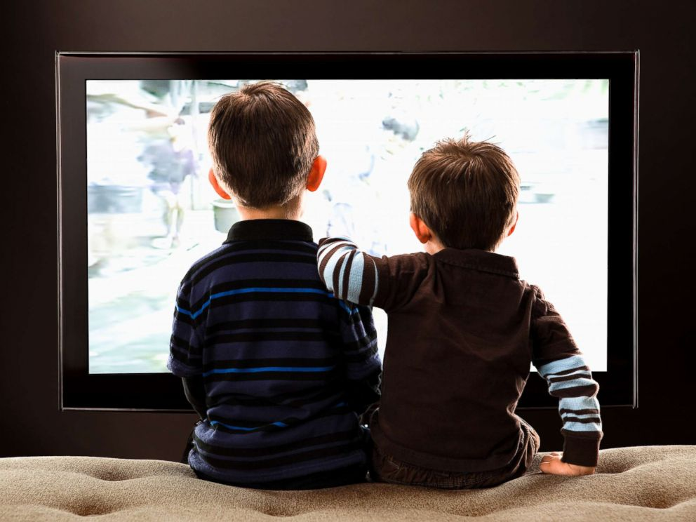PHOTO: Two children watch television in this stock photo.