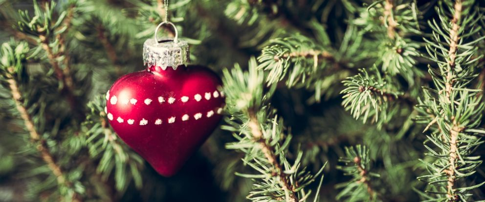 PHOTO: An undated stock photo shows a heart-shaped ornament on a Christmas tree.