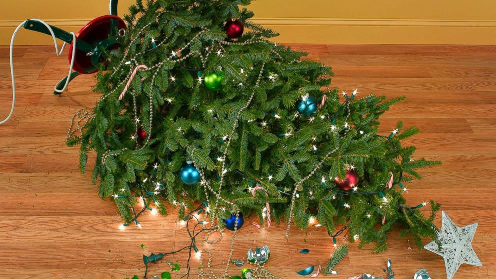 An undated stock photo depicts a fallen Christmas tree.