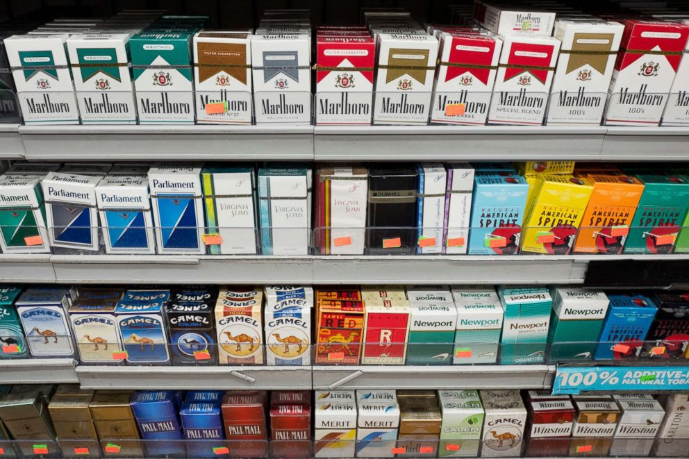 PHOTO: Cigarettes are displayed on a shelf, Monday, Aug. 28, 2017, in New York.