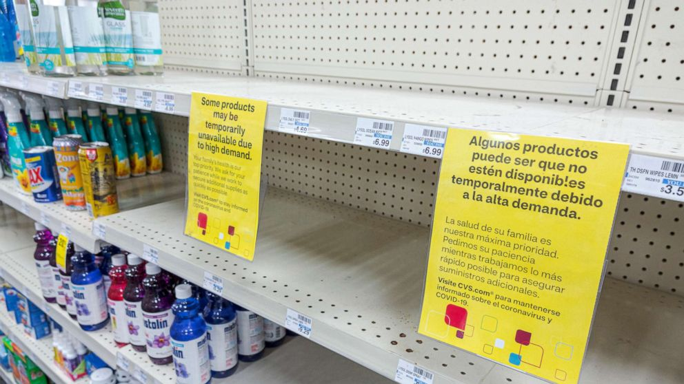 PHOTO: Empty cleaning and disinfectant products shelves due to the Coronavirus Pandemic in Miami, May 7, 2020.