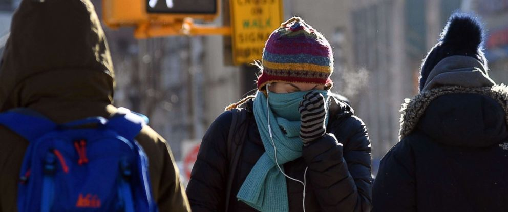 PHOTO: People walk through the freezing cold in the Brooklyn borough of New York on Jan. 31, 2019.