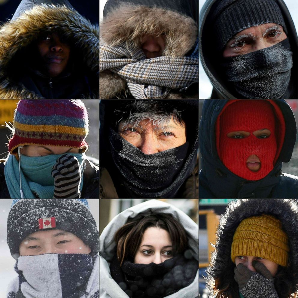 PHOTO: This combination of pictures taken 30 and 31st of January 2019 shows pedestrians protecting their faces from the cold in New York, Washington, Chicago, in Kingston, Ontario, Montreal and along Lake Michigan.