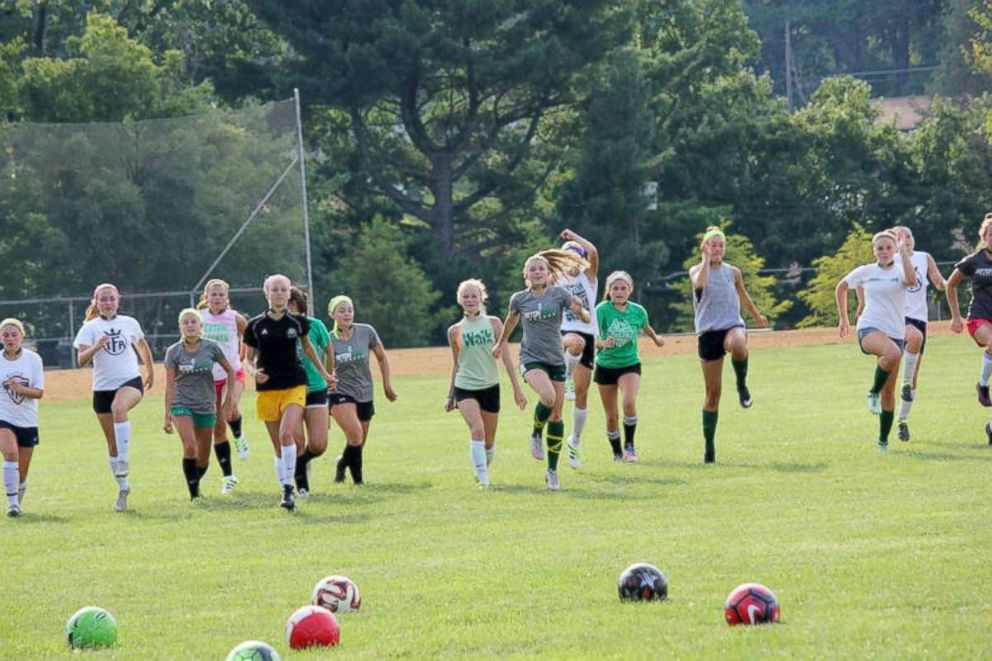 Photo of Seton High School soccer players wearing the Q-Collar for the 2016 study.