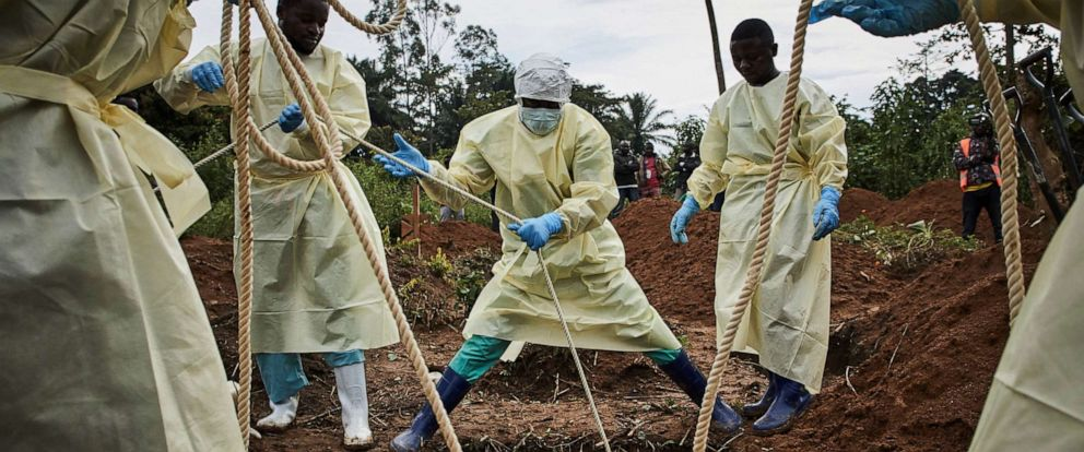PHOTO: Health workers lower the coffin of an Ebola victim in Beni, North Kivu province, Democratic Republic of the Congo, Aug. 29, 2019.