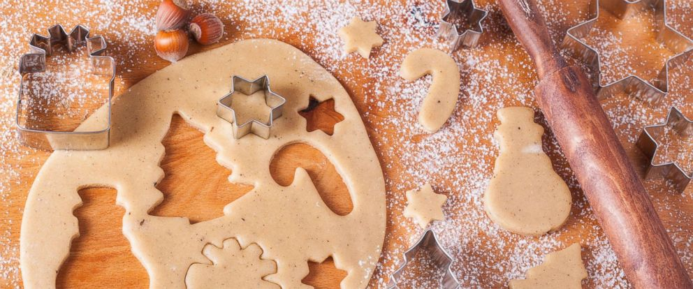 PHOTO: Gingerbread cookie dough cut into holiday shapes are seen in an undated stock photo.