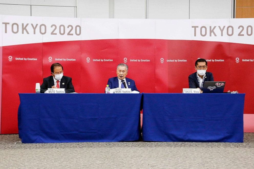 PHOTO: Tokyo 2020 Olympic Games president Yoshiro Mori during a press conference regarding the Tokyo Olympics, which have been postponed due to the COVID-19 novel coronavirus, in Tokyo, Oct. 7, 2020.