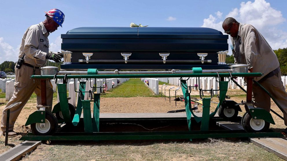 PHOTO: In this Aug. 20, 2021, file photo, caretakers prepare to inter the casket of a person who passed away from complications caused by COVID-19, at Louisiana National Cemetery in Zachary, La.