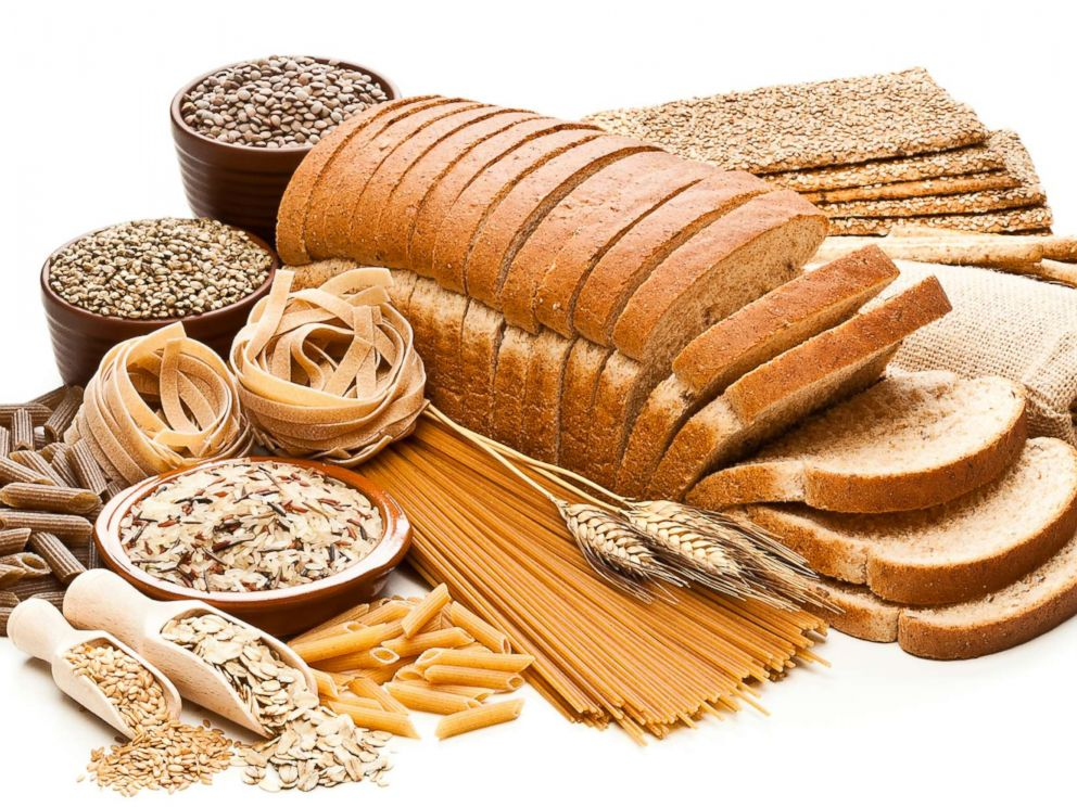 PHOTO: Various grains, lentils and whole grain breads and pasta products are displayed in an undated stock photo.