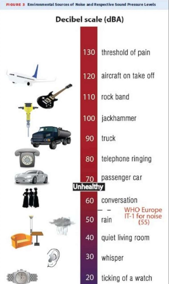 PHOTO: The Decibel Scale by the World Health Organization. This shows common noises and the amount of noise they produce measured in decibels. Note that anything above 60 dBA is considered unhealthy.
