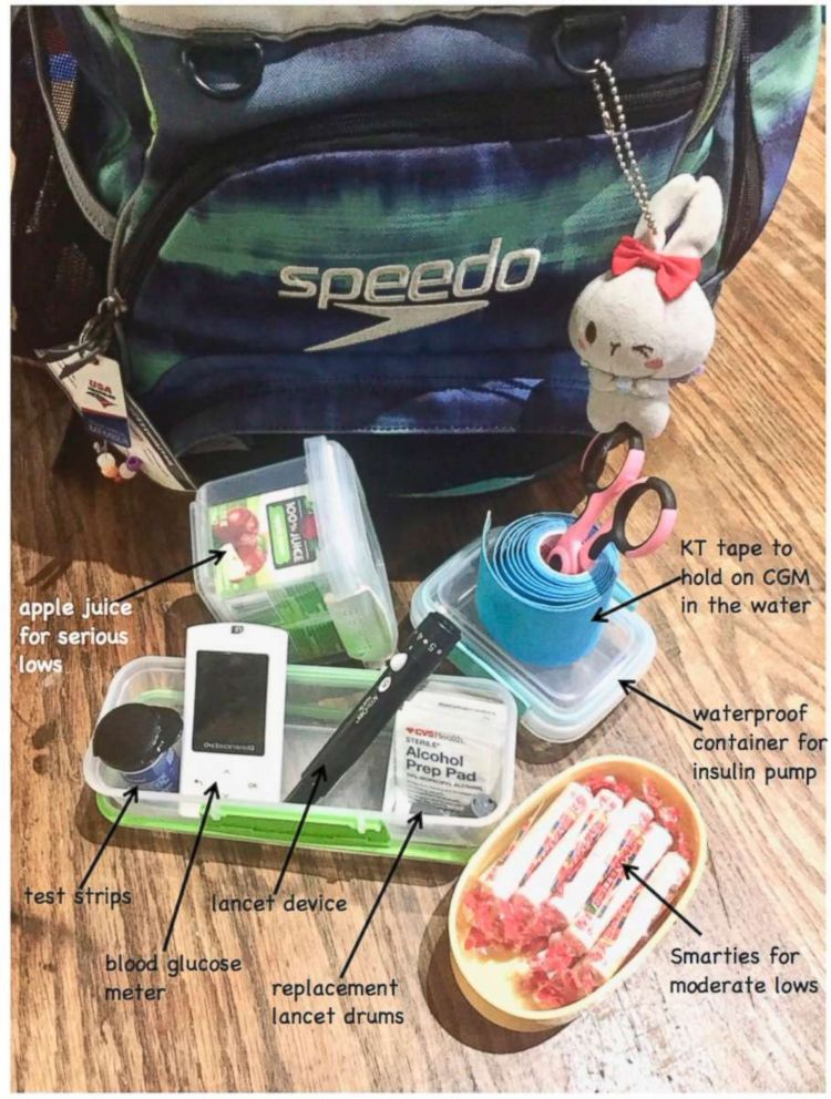 PHOTO: A mother shows what is inside her daughters swim bag in order to get through practice.
