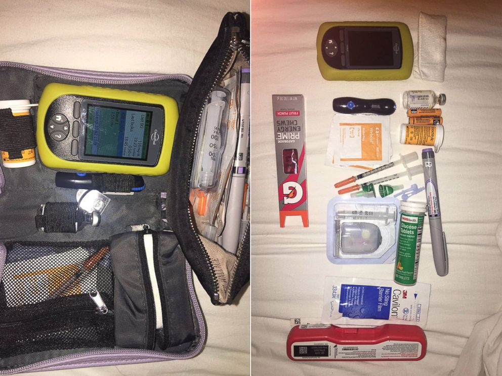 PHOTO: A woman on Twitter shares what she keeps in her bag to manage her Type I diabetes.