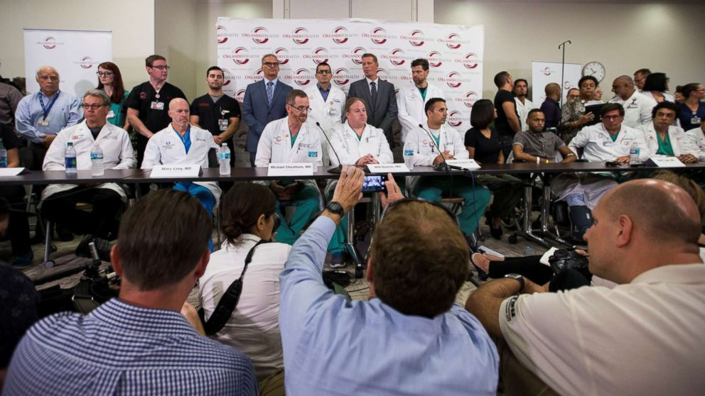 Doctors and medical staff recount how things unfolded at the Emergency Room following the Pulse nightclub massacre during a press conference at the Orlando Regional Medical Center in Orlando, Fl. on June 14, 2016.