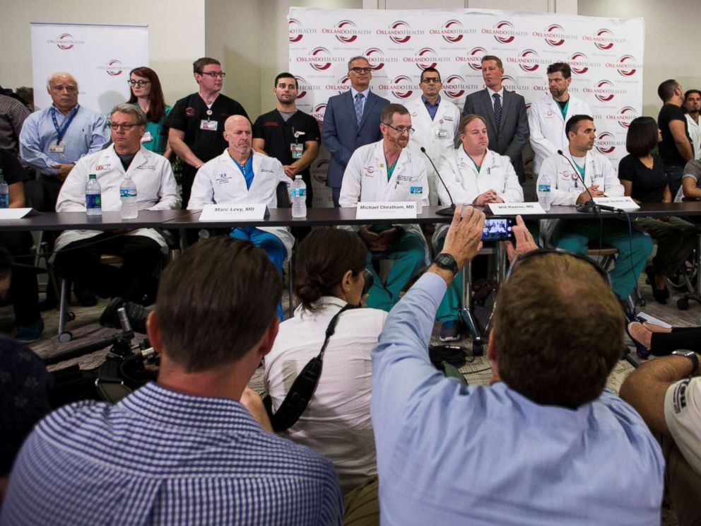 PHOTO: Doctors and medical staff recount how things unfolded at the Emergency Room following the Pulse nightclub massacre during a press conference at the Orlando Regional Medical Center in Orlando, Fl. on June 14, 2016.