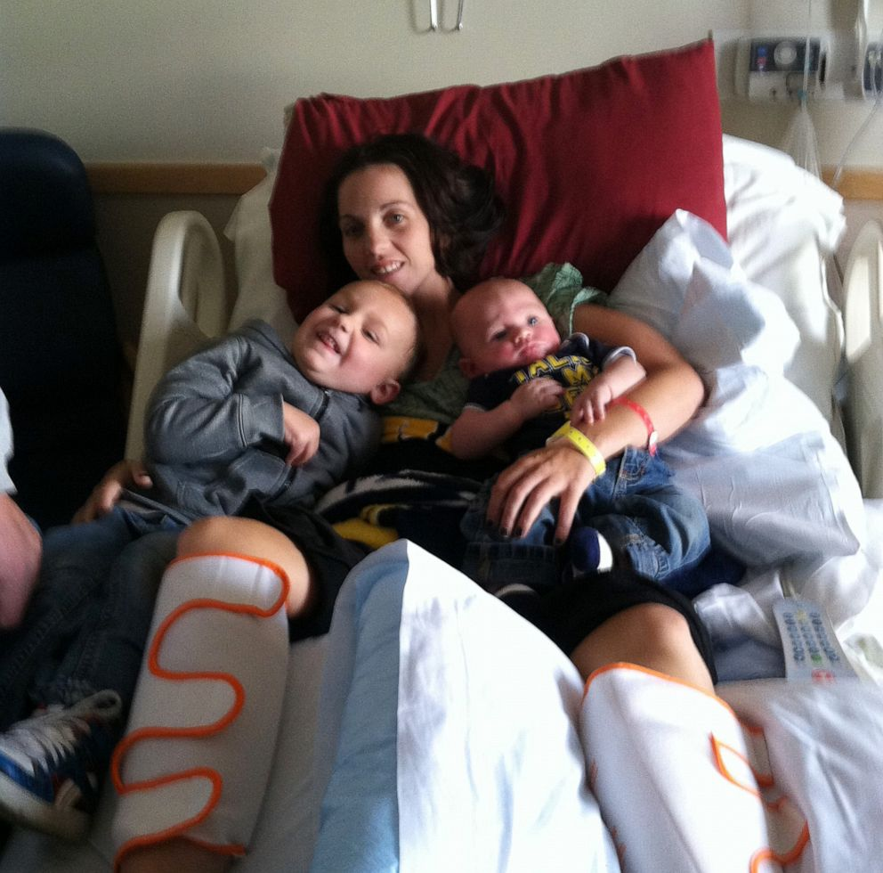 PHOTO: Kaylee Hardenbrooks' children visited her at the hospital while recovering from Eastern equine encephalitis, a mosquito-borne disease. Five years later, Hardenbrook achieved an almost complete recovery.