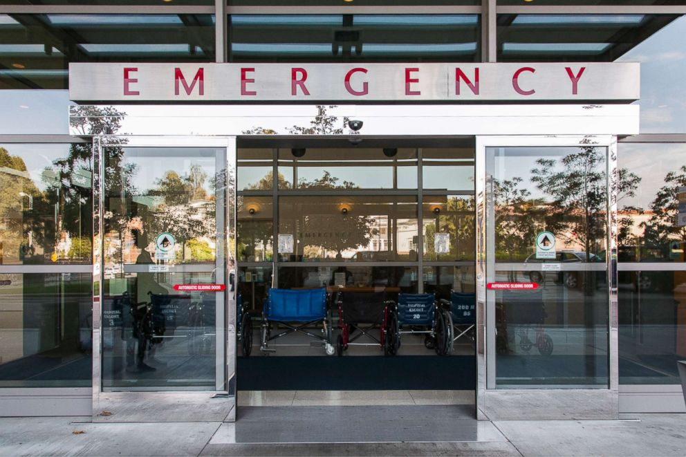 The entrance of a hospital emergency room appears in this undated stock photo.